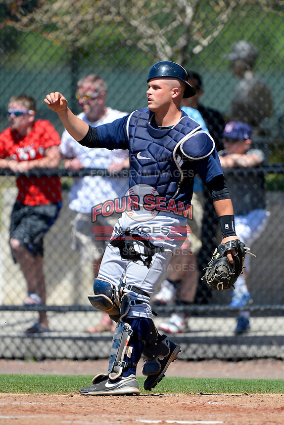 New York Yankees catcher Wes Wilson #35 during a minor league Spring Training game against the Philadelphia Phillies at Carpenter Complex on March 21, 2013 in Clearwater, Florida.  (Mike Janes/Four Seam Images)