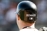 13 April 2008:  Rear view of the helmet of #21John Bowker of the Giants during the San Francisco Giants 7-4 victory over the St. Louis Cardinals at the AT&T Park in San Francisco, CA.