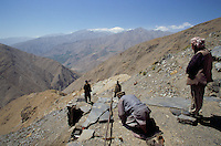 The first pray of the day at 4000 meters for hundred of Emerald Afghan miners, in the Panshir valley...are searching for Emeralds, in the heart of Afghanistan