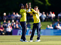 Mason Crane (R) of Hampshire is congratulated after taking the wicket of Jack Leaning during Kent Spitfires vs Hampshire Hawks, Vitality Blast T20 Cricket at The Spitfire Ground on 9th June 2021