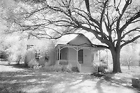 Infrared house and tree, Llano, Texas.<br /> <br /> Nikon F3HP, 24mm lens, Kodak High Speed Infrared film, red filter