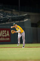 AZL Athletics shortstop Nick Allen (2) throws a runner out at first base during a game against the AZL Cubs on August 9, 2017 at Sloan Park in Mesa, Arizona. AZL Athletics defeated the AZL Cubs 7-2. (Zachary Lucy/Four Seam Images)