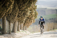 Geraint Thomas (GBR/SKY) during the Team SKY race reconnaissance 1 day prior to the 13th Strade Bianche 2019 (1.UWT)<br /> One day race from Siena to Siena (184km)<br /> <br /> ©kramon
