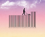 Illustrative image of man mowing on barcode representing discount