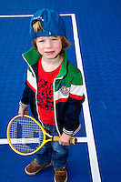 15-09-12, Netherlands, Amsterdam, Tennis, Daviscup Netherlands-Suisse, Little boy with tennisracket