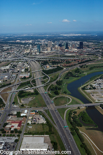 aerial photograph of Interstate 30 and the West Fork of the Trinity River toward downtown Fort Worth, Texas