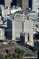 aerial photograph of the Mark Hopkins hotel, Nob Hill, San Francisco, California
