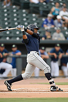 Right fielder Isiah Gilliam (25) of the Charleston RiverDogs bats in a game against the Columbia Fireflies on Monday, August 7, 2017, at Spirit Communications Park in Columbia, South Carolina. Columbia won, 6-4. (Tom Priddy/Four Seam Images)