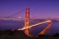 San Francisco's Golden Gate Bridge at twilight.