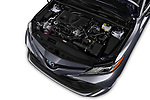 Car stock 2019 Toyota Camry XLE Hybrid 4 Door Sedan engine high angle detail view