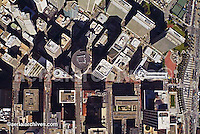aerial photo map of the San Francisco downtown financial center at Market St--horizontal center & Embarcadero--right Embarcadero Center top right