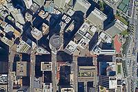 aerial photo map of the San Francisco downtown financial center at Market St--horizontal center & Embarcadero--right Embarcadero Center top right