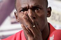 Il velocista giamaicano Usain Bolt tiene una conferenza stampa a Roma, 29 maggio 2012, in occasione della sua partecipazione al Golden Gala Diamond League di atletica leggera in programma allo stadio Olimpico il 31 maggio.<br /> Jamaican sprinter Usain Bolt attend a press conference in Rome, 29 may 2012, ahead of his taking part to the athletics Golden Gala Diamond League meeting scheduled at the Olympic stadium on May 31.<br /> UPDATE IMAGES PRESS/Riccardo De Luca