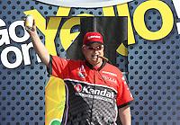 Feb. 17, 2013; Pomona, CA, USA; NHRA pro stock driver V. Gaines during the Winternationals at Auto Club Raceway at Pomona. Mandatory Credit: Mark J. Rebilas-