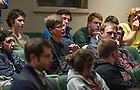 """Nov. 4, 2014; A student asks Richard Brodhead, president of Duke University a question after Brodhead's  talk exploring """"The Once and Future Liberal Arts,"""" as part of Notre Dame 2014-2015 Forum. (Photo by Barbara Johnston/University of Notre Dame)"""