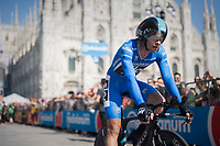 Maglia Azzurra / KOM leader Mikel Landa (ESP/SKY) rolling out in front of the Milano Duomo after finishing the closing time trial<br /> <br /> stage 21: Monza - Milano (29km)<br /> 100th Giro d'Italia 2017