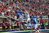 Arkansas wide receiver Treylon Burks (16) misses a pass for a two-point conversion, Saturday, October 9, 2021 during the fourth quarter of a football game at Vaught Hemingway Stadium in Oxford, Miss. Check out nwaonline.com/211010Daily/ for today's photo gallery. <br /> (NWA Democrat-Gazette/Charlie Kaijo)
