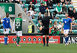 Hibs v St Johnstone…22.09.21  Easter Road.    SPFL<br />Jamie McCart is sent off by referee John Beatson<br />Picture by Graeme Hart.<br />Copyright Perthshire Picture Agency<br />Tel: 01738 623350  Mobile: 07990 594431