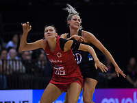 England's Georgina Fisher and NZ's Jane Watson in action during the Cadbury Netball Series Taini Jamison Trophy match between New Zealand Silver Ferns and England Roses at Claudelands Arena in Hamilton, New Zealand on Wednesday, 28 October 2020. Photo: Dave Lintott / lintottphoto.co.nz