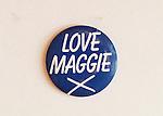 Love Maggie X badge.  Margaret Thatcher 1983 General Election  UK