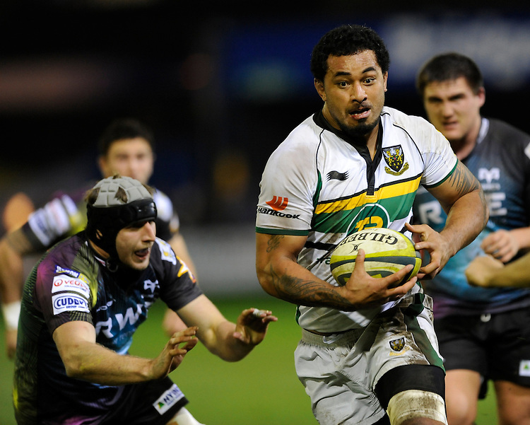 Samu Manoa of Northampton Saints charges upfield during the LV= Cup second round match between Ospreys and Northampton Saints at Riverside Hardware Brewery Field, Bridgend (Photo by Rob Munro)