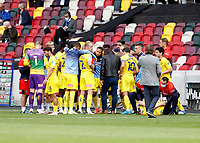 6th September 2020; Brentford Community Stadium, London, England; English Football League Cup, Carabao Cup, Football, Brentford FC versus Wycombe Wanderers; Wycombe Wanderers manager Gareth Ainsworth giving a team talk to his players from the touchline before the penalty shoot out