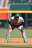 Oakland Athletics Miguel Mercedes (15) during an Instructional League game against the Arizona Diamondbacks on October 15, 2016 at Chase Field in Phoenix, Arizona.  (Mike Janes/Four Seam Images)