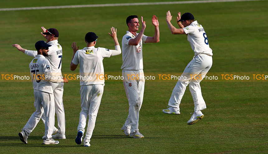 Nathan Gilchrist of Kent is congratulated by Matt Milnes after taking the wicket of  Brett D'Oliveira during Kent CCC vs Worcestershire CCC, LV Insurance County Championship Division 3 Cricket at The Spitfire Ground on 6th September 2021
