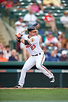 Baltimore Orioles center fielder Joey Rickard (23) at bat during a Spring Training exhibition game against the Dominican Republic on March 7, 2017 at Ed Smith Stadium in Sarasota, Florida.  Baltimore defeated the Dominican Republic 5-4.  (Mike Janes/Four Seam Images)