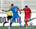 Al Jazeera vs Al Hidd during the 2015 AFC Cup 2015 Group B match on April 14, 2015 at the King Abdullah International Stadium in Amman, Jordan. Photo by Adnan Hajj / World Sport Group