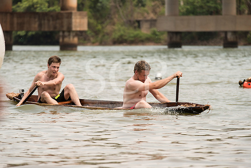 The Finnish team's canoe takes in water during the canoeing event at the  International Indigenous Games, in the city of Palmas, Tocantins State, Brazil. Photo © Sue Cunningham, pictures@scphotographic.com 30th October 2015