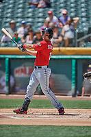Brett Nicholas (15) of the El Paso Chihuahuas bats against the Salt Lake Bees at Smith's Ballpark on July 8, 2018 in Salt Lake City, Utah. El Paso defeated Salt Lake 15-6. (Stephen Smith/Four Seam Images)