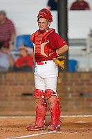 Travis Tartamella #31 of the Johnson City Cardinals looks towards the dugout in disgust after a close call at first base went against the Cardinals at Howard Johnson Field August 1, 2009 in Johnson City, Tennessee. (Photo by Brian Westerholt / Four Seam Images)