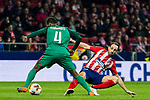 Juan Francisco Torres Belen, Juanfran (R), of Atletico de Madrid fights for the ball with Manuel Fernandes of FC Lokomotiv Moscow during the UEFA Europa League 2017-18 Round of 16 (1st leg) match between Atletico de Madrid and FC Lokomotiv Moscow at Wanda Metropolitano  on March 08 2018 in Madrid, Spain. Photo by Diego Souto / Power Sport Images