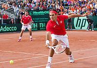 15-09-12, Netherlands, Amsterdam, Tennis, Daviscup Netherlands-Suisse, Doubles,     Roger Federer/Stanislas Wawrinka.