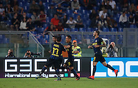 Calcio, Serie A: Roma vs Inter. Roma, stadio Olimpico, 2 ottobre 2016.<br /> FC Inter's Ever Banega, second from left, celebrates with teammates Gary Medel, left, Yuto Nagatomo, second from right, and Mauro Icardi, after scoring during the Italian Serie A football match between Roma and FC Inter at Rome's Olympic stadium, 2 October 2016.<br /> UPDATE IMAGES PRESS/Isabella Bonotto