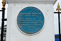 BNPS.co.uk (01202 558833)<br /> Pic: BNPS<br /> <br /> Pictured: Guglielmo Marconi's blue plaque at the Haven Hotel. <br /> <br /> Over 6,200 letters of objection have been lodged against controversial plans to replace a historic hotel with a 'soulless' block of flats at a millionaire's playground.<br /> <br /> The well-heeled residents of Sandbanks are up in arms about the £250million development which would see the Haven Hotel at the entrance to Poole Harbour in Dorset bulldozed.<br /> <br /> The 141-year-old building is where engineer Guglielmo Marconi established the world's first wireless communications. Under the plans, it would be replaced with a six-storey block of 119 luxury apartments.