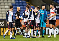 Bolton Wanderers' players celebrate victory at the end of the match<br /> <br /> Photographer Andrew Kearns/CameraSport<br /> <br /> The EFL Sky Bet League Two - Bolton Wanderers v Salford City - Friday 13th November 2020 - University of Bolton Stadium - Bolton<br /> <br /> World Copyright © 2020 CameraSport. All rights reserved. 43 Linden Ave. Countesthorpe. Leicester. England. LE8 5PG - Tel: +44 (0) 116 277 4147 - admin@camerasport.com - www.camerasport.com