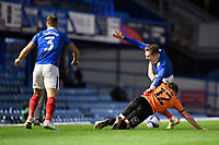 Sam Long of Oxford United tackles Ronan Curtis of Portsmouth during Portsmouth vs Oxford United, Sky Bet EFL League 1 Football at Fratton Park on 24th November 2020