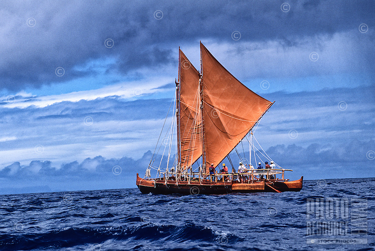 Polynesian voyaging canoe Hawai'iloa, Pacific Ocean _ 1994. Contact PRH for permission to use this photo.