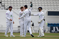 Hampshire CCC celebrate the fall of Rory Burns to Liam Dawson during Surrey CCC vs Hampshire CCC, LV Insurance County Championship Group 2 Cricket at the Kia Oval on 30th April 2021