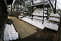 Maneki-Neko figurines on display at Goutoku Temple