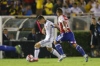 Pasadena, CA - Tuesday June 07, 2016: Colombia midfielder James Rodríguez (10) and Paraguay defender Victor Ayala (20) during a Copa America Centenario Group A match between Colombia (COL) and Paraguay (PAR) at Rose Bowl Stadium.