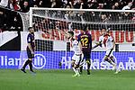 Rayo Vallecano's Jose Angel Pozo celebrates goal during La Liga match between Rayo Vallecano and FC Barcelona at Vallecas Stadium in Madrid, Spain. November 03, 2018. (ALTERPHOTOS/A. Perez Meca)
