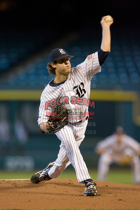 Starting pitcher Taylor Wall #26 of the Rice Owls in action versus the Baylor Bears in the 2009 Houston College Classic at Minute Maid Park March 1, 2009 in Houston, TX.  The Owls defeated the Bears 8-3. (Photo by Brian Westerholt / Four Seam Images)