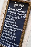 Menu with tapas. Collioure. Roussillon. France. Europe.