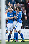 Hearts v St Johnstone…19.03.16  Tynecastle, Edinburgh<br />Murray Davidson celebrates his first goal with Brian Easton and Joe Shaughnessy<br />Picture by Graeme Hart.<br />Copyright Perthshire Picture Agency<br />Tel: 01738 623350  Mobile: 07990 594431