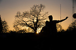 Alvechurch FC 3 Highgate United 0, 26/12/2016. Lye Meadow, Midland Football League Premier Division. Players pictured in silhouette during the first-half at Lye Meadow as Alvechurch hosted Highgate United in a Midland Football League premier division match. Originally founded in 1929 and reformed in 1996 after going bust, the club has plans to move from their current historic ground to a new purpose-built stadium in time for the 2017-18 season. Alvechurch won this particular match by 3-0, watched by 178 spectators, taking them back to the top of the league. Photo by Colin McPherson.