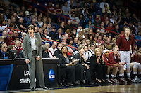 SPOKANE, WA - MARCH 30, 2013: Tara VanDerveer disagrees with a call during the third round NCAA Championships game matching Stanford vs Georgia at the Spokane Arena. The Cardinal fell to the Bulldogs 61-59.