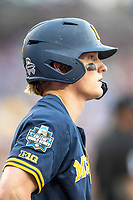 Michigan Wolverines shortstop Jack Blomgren (2) waits on deck during Game 6 of the NCAA College World Series against the Florida State Seminoles on June 17, 2019 at TD Ameritrade Park in Omaha, Nebraska. Michigan defeated Florida State 2-0. (Andrew Woolley/Four Seam Images)